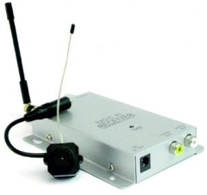 Комплект беспроводной скрытой камеры из приемника и передатчика изображен на фото