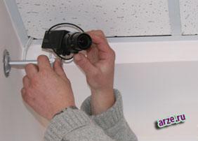 Закрепление камеры на потолке