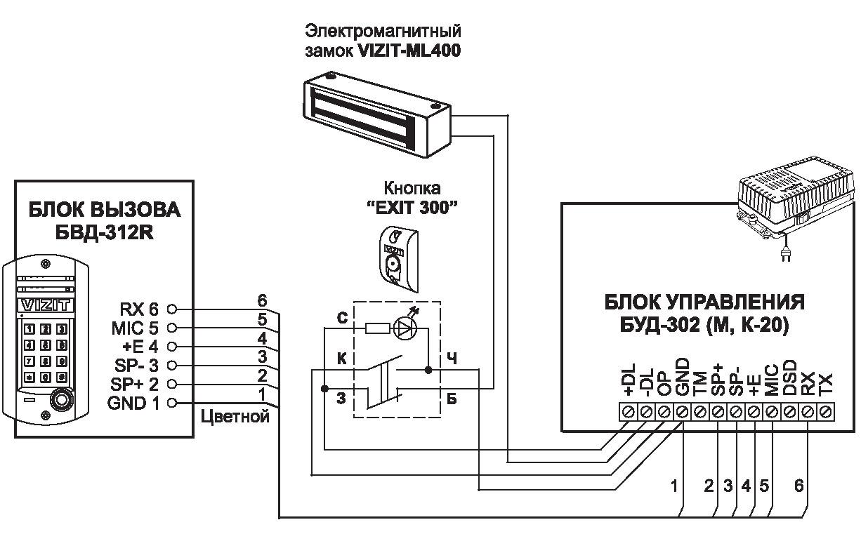 Принципиальная схема подключения домофона в многоквартирном доме для домофона VIZIT-ML-400