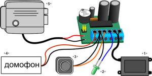 Подключение домофона к контроллеру z-5r