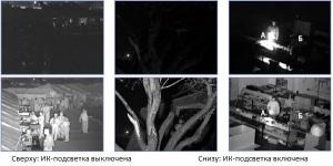 Качество ночной съемки с ИК прожектором в сравнении