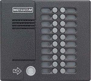 многоабонентский врезной домофон, с поддержкой связи типа «радио» и имеющий индивидуальную кнопку вызова для каждого абонента. Рассчитан на обслуживание 20 абонентов