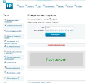 проверка порта на открытость в интернете