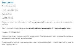 Страница Контакты