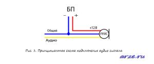 Принципиальная схема подключения микрофона к аудио штекеру тюльпан