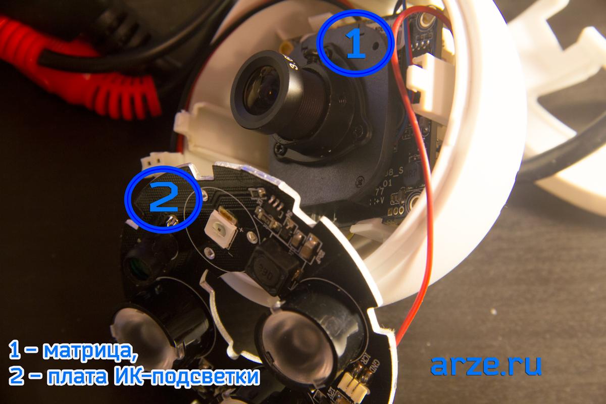 Объектив и матрица купольной камеры RVC-6760Е
